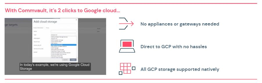 With Commvault, it's 2 clicks to Google Cloud.